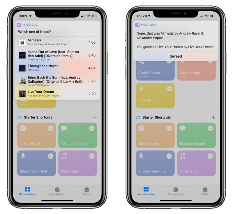Muziek quiz Opdrachten-app iOS 14 beta 3