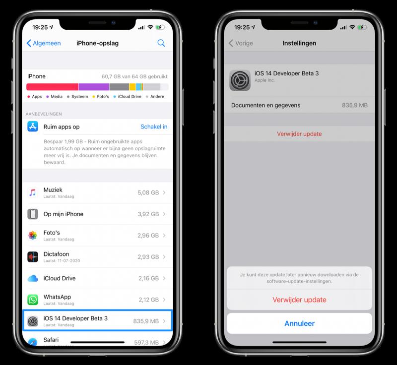 iOS update verwijderen iPhone