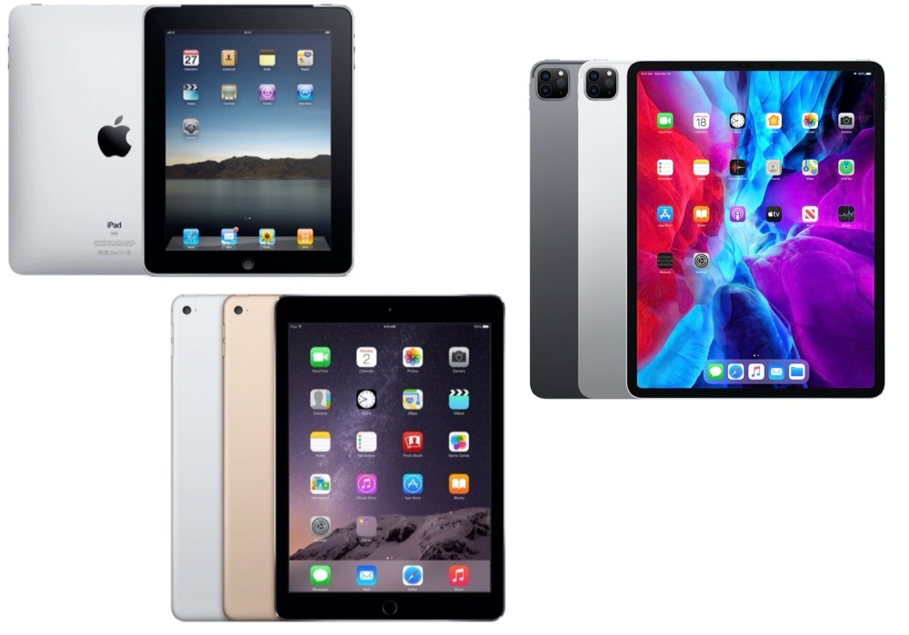 Originele iPad vs iPad Air vs iPad Pro 2020.