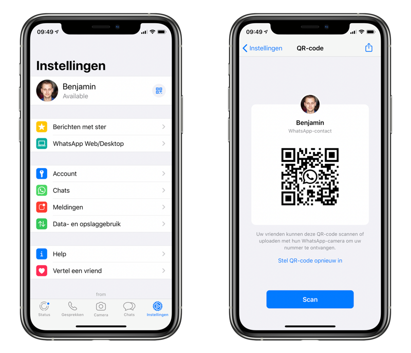 WhatsApp QR-code scannen.