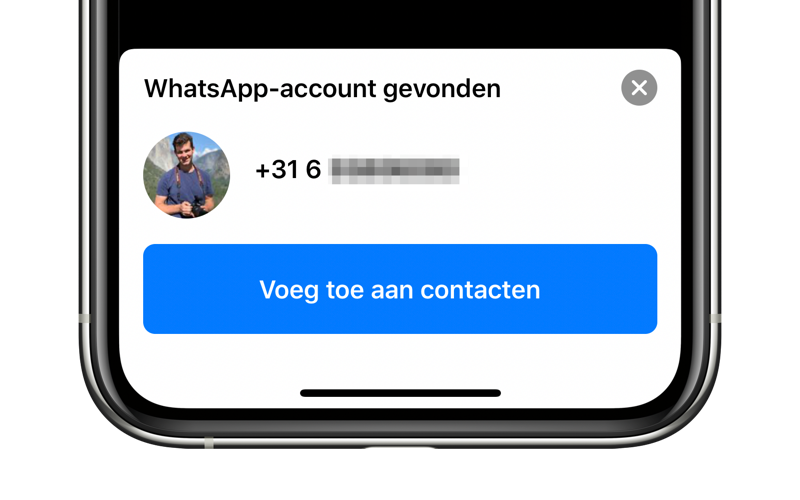 WhatsApp: contact toevoegen via QR-code.
