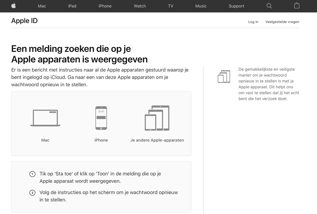 Apple ID wachtwoord vergeten iForgot