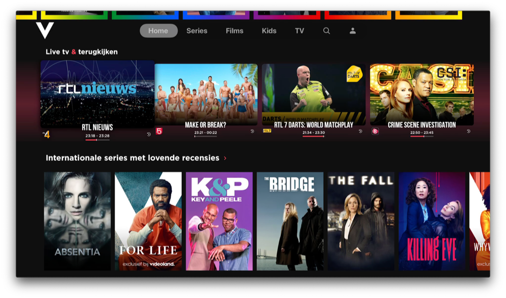Videoland live tv via Apple TV.