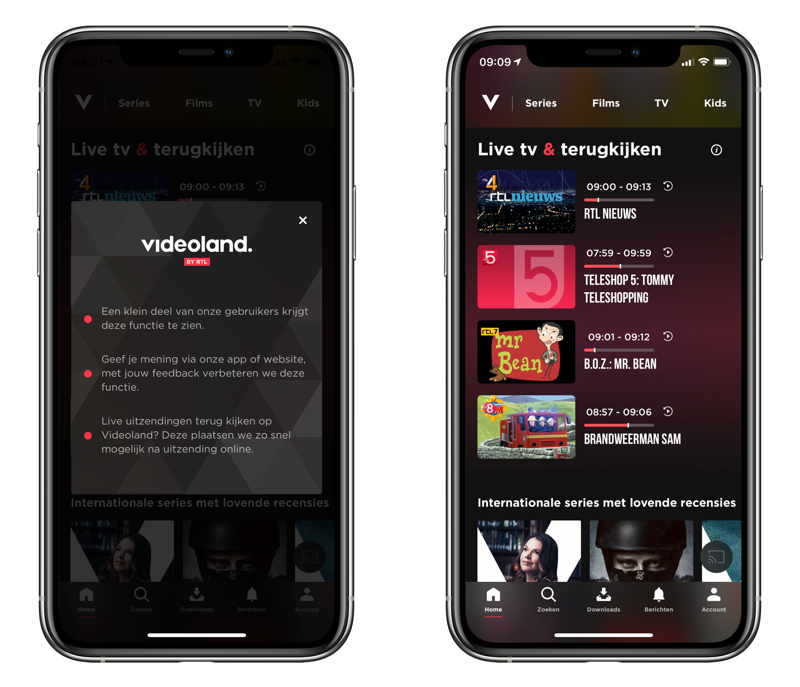 Videoland live tv via de iPhone.