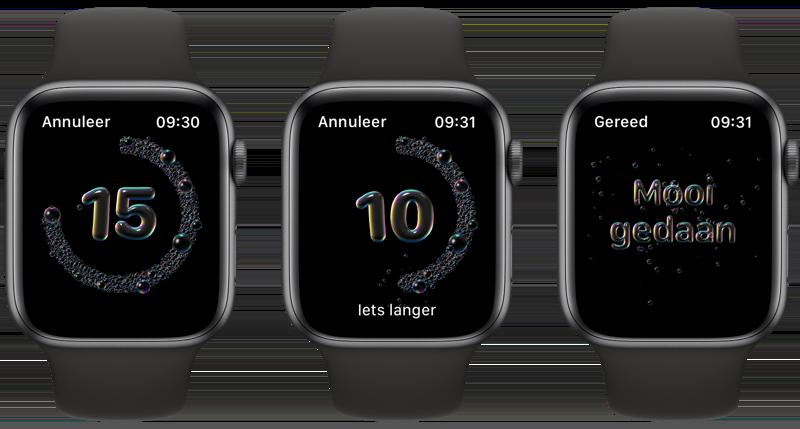 Timer handen wassen Apple Watch