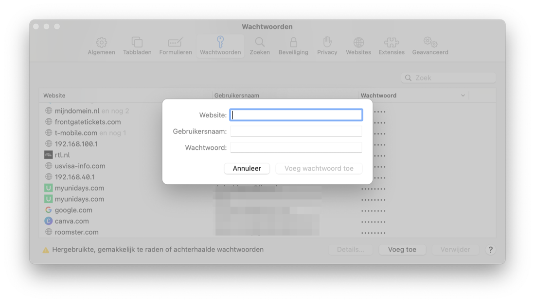 Add password manually in Safari