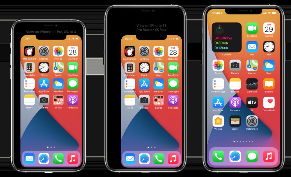 iPhone 12 formaat vergelijking met andere toestellen.