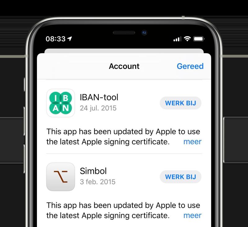 Oude app updates met Apple Signing Certificate.