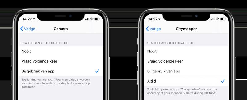 Locatie delen opties iPhone