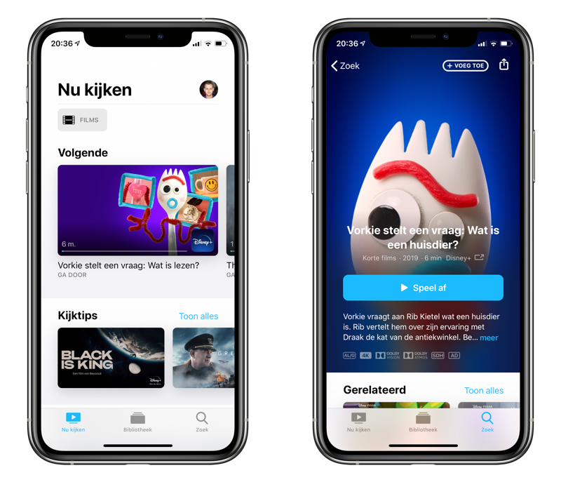 Disney+ in de TV-app van Apple.