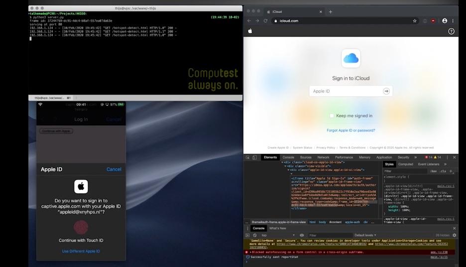 iCloud-website kwetsbaarheid bij inloggen met Touch ID.