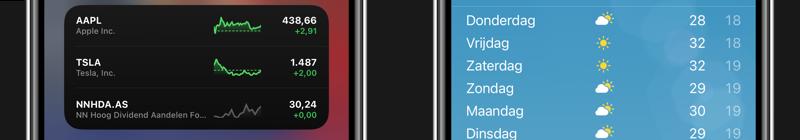 Aandelen en Weer iOS 14 beta 4