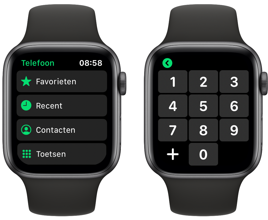 Telefoon-app op Apple Watch.