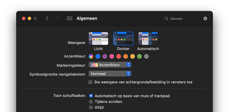 Dark Mode: Desktop Tinting uit