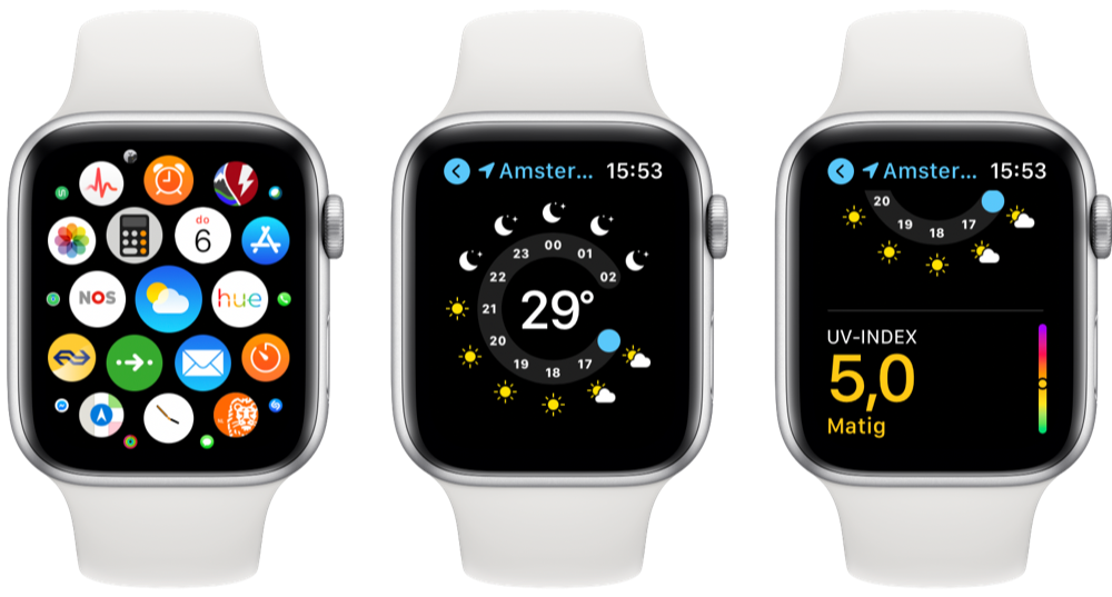 UV-index controleren Apple Watch Weer-app