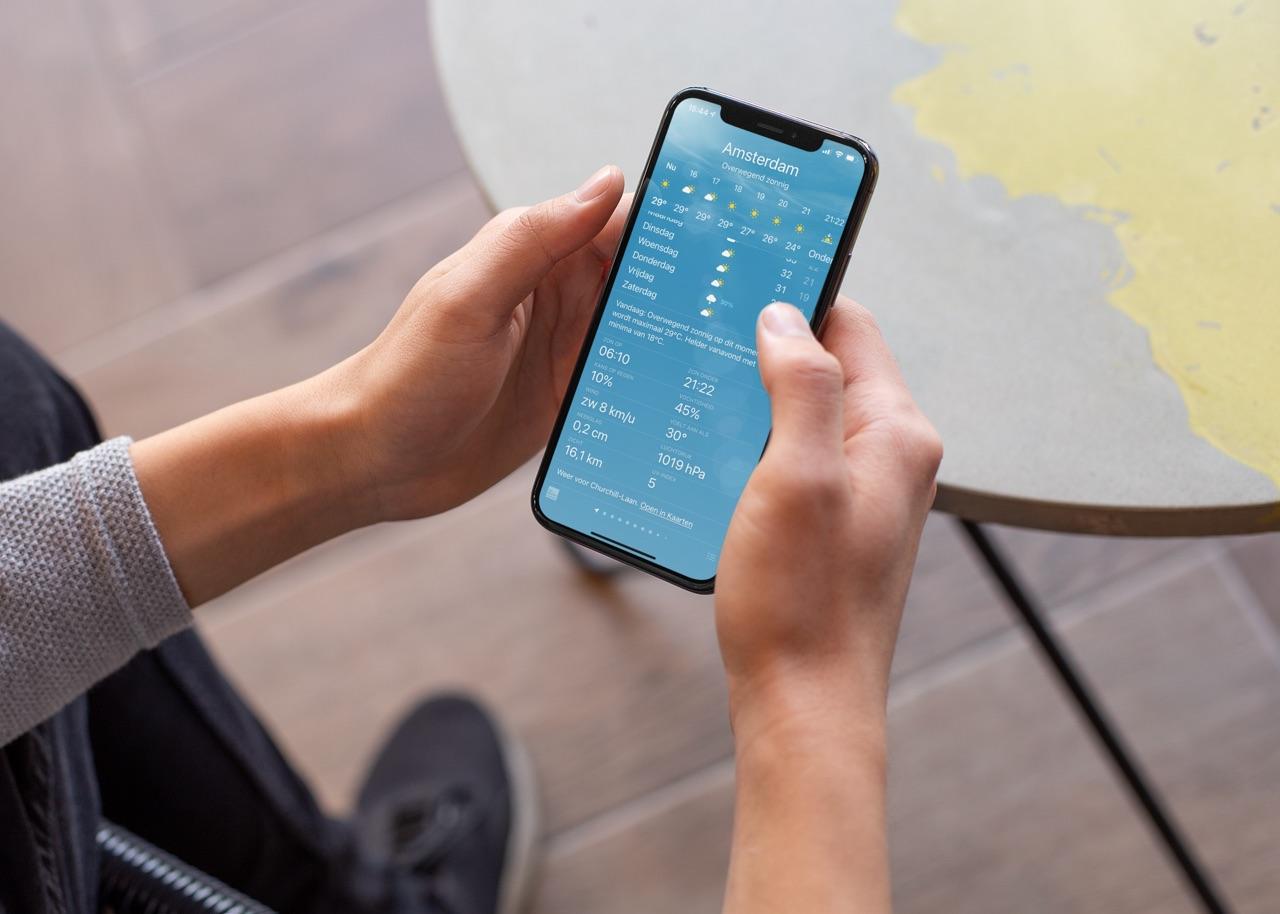 Weer-app op de iPhone