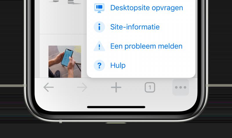 Chrome op iOS: desktopsite opvragen.