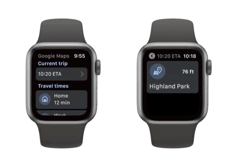 Google Maps op Apple Watch met ETA en afslagen.