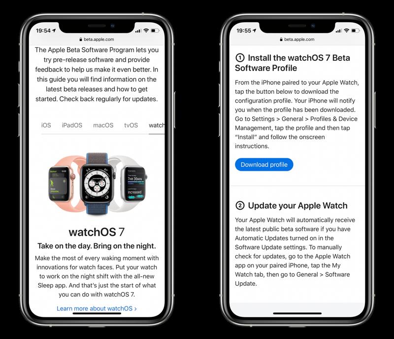 watchOS 7 publieke beta installeren.