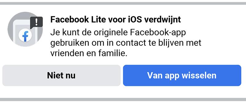 Facebook Lite verdwijnt
