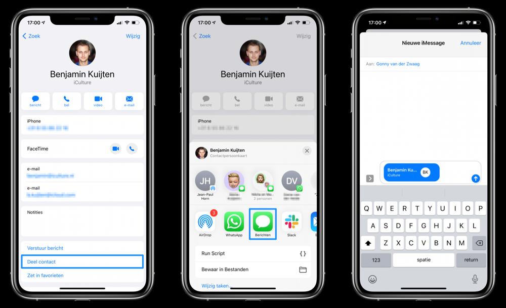 Contactkaart delen vanuit Contacten-app