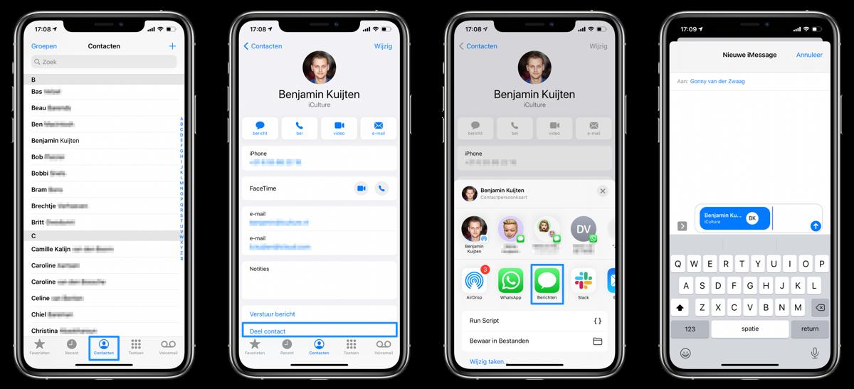 Contacten delen vanuit Telefoon-app