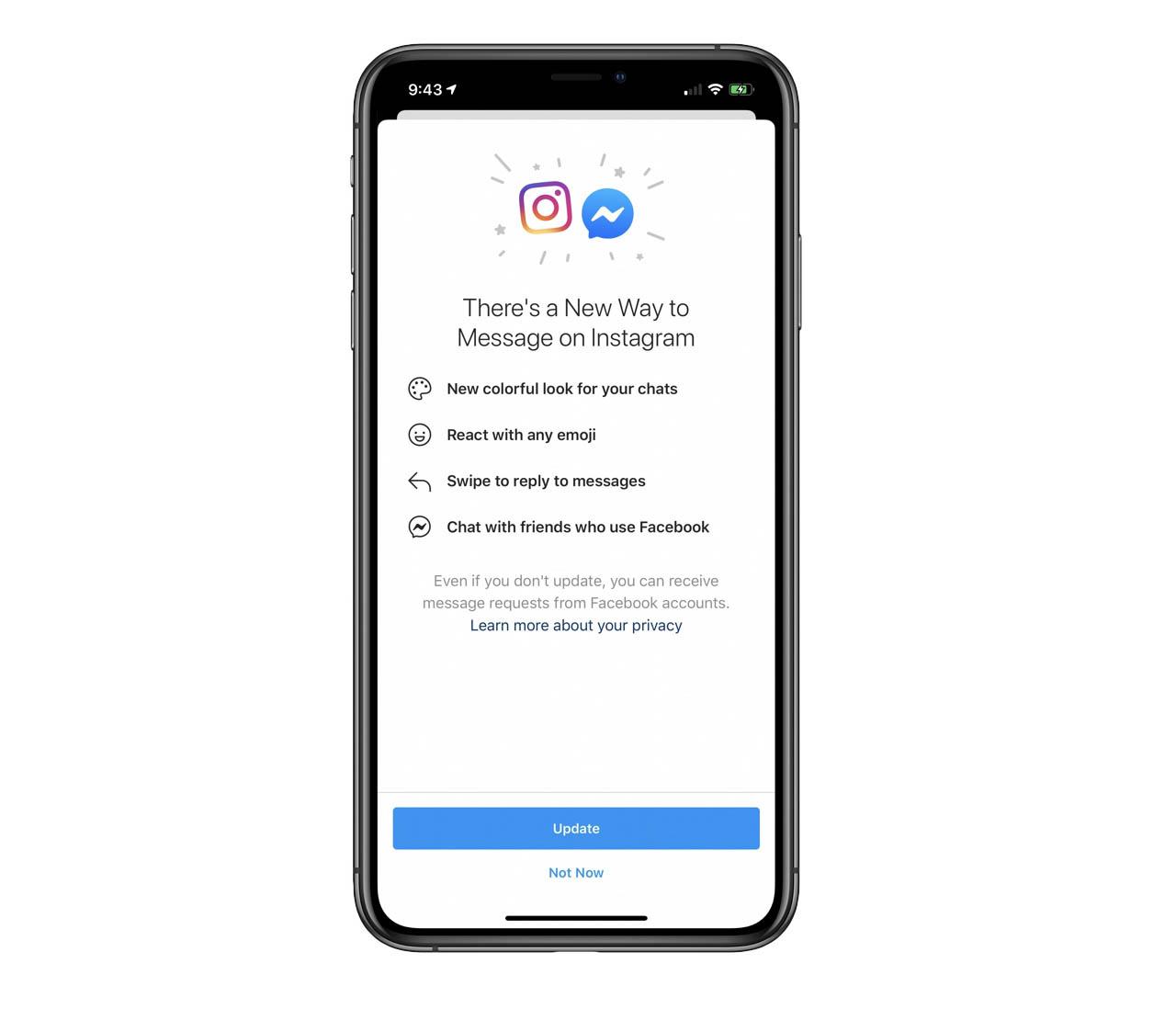 Instagram en Messenger samenvoeging