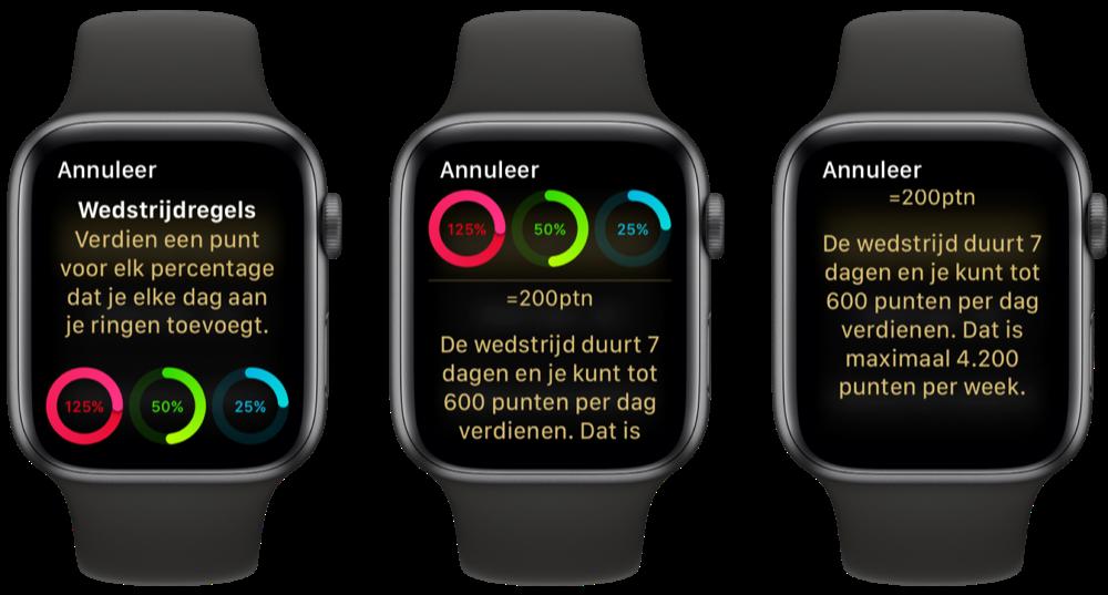 Regels van een Activiteit Wedstrijd op de Apple Watch.
