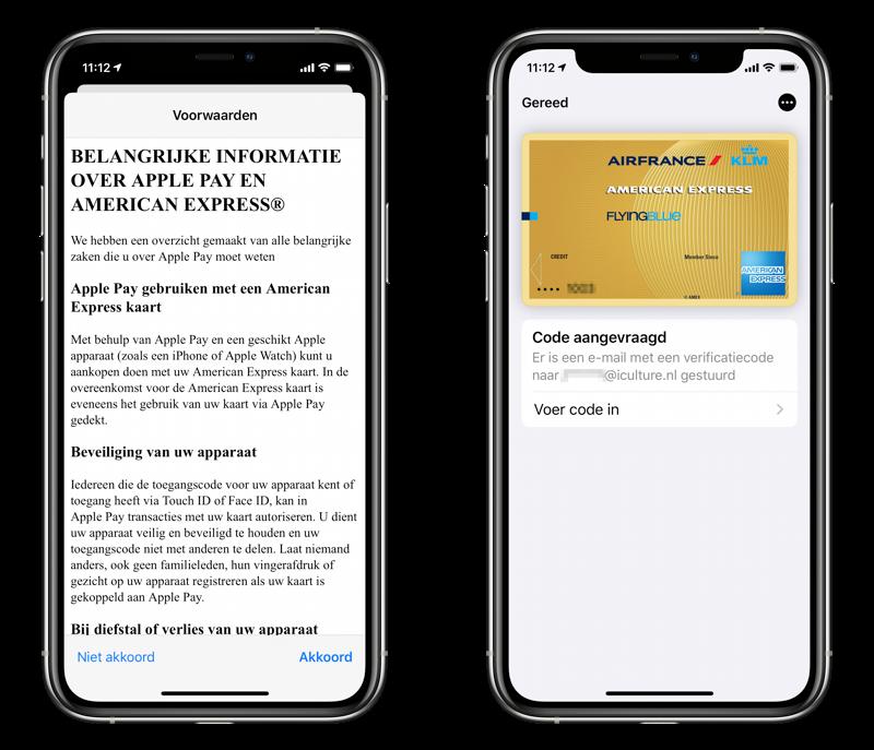 American Express aan Apple Pay toevoegen.