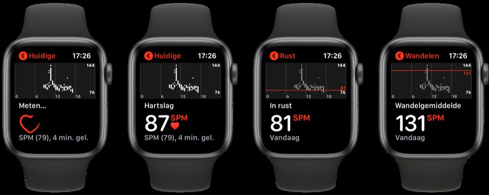 Hartslag-app op Apple Watch.