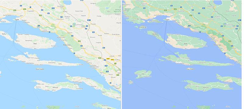 Google Maps in Kroatië