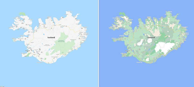 Google Maps in IJsland