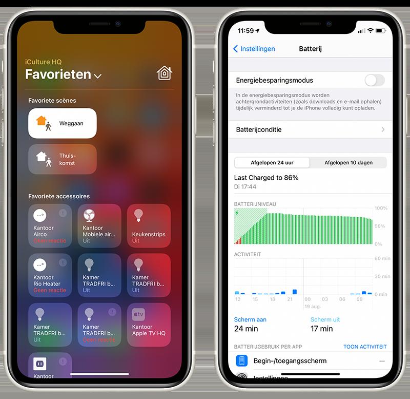 iOS 14 beta 5 Woning-widget en Batterij-instellingen