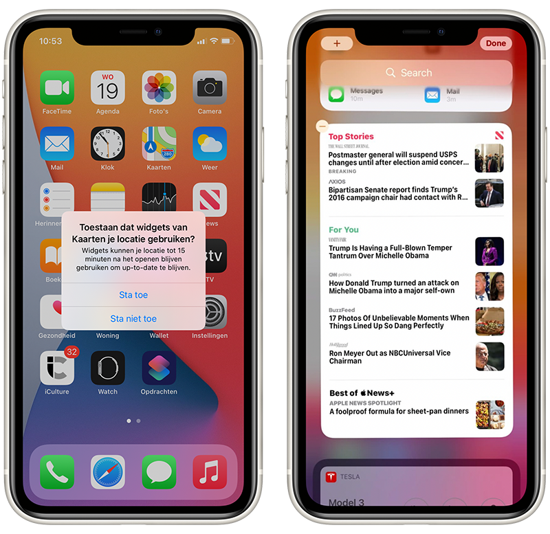 iOS 14 beta 5 widget-privacy en News-widget