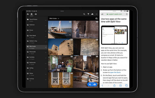 Adobe Lightroom met split view