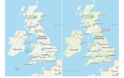 Apple Kaarten verbeterd UK-materiaal
