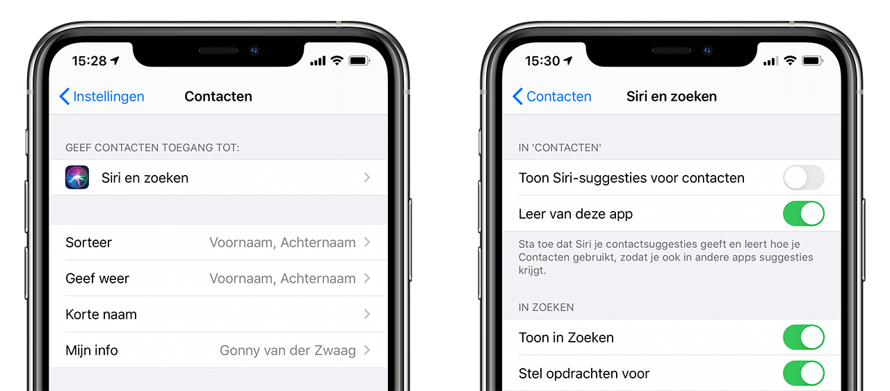 Siri-suggesties iOS