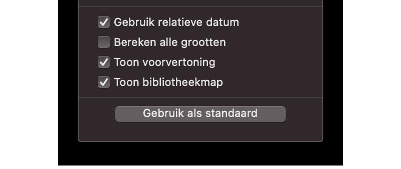Bibliotheek-map altijd zichtbaar