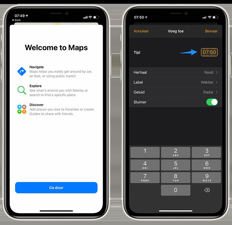 iOS 14 beta 6 Apple Kaarten en tijdkiezer
