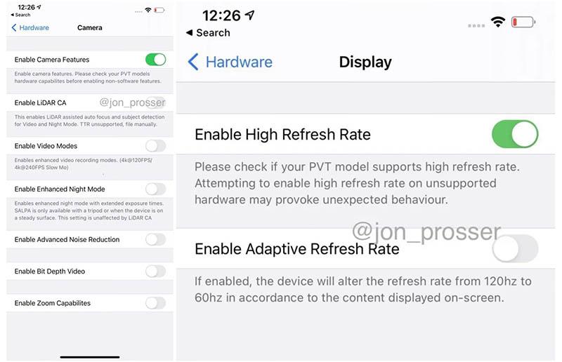 iPhone 12 LiDAR en scherm