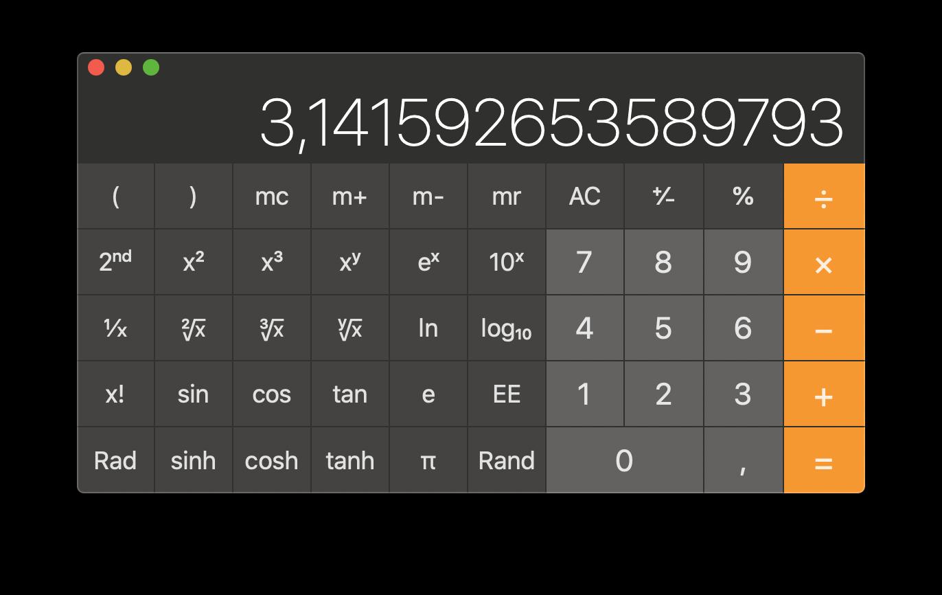 Mac wetenschappelijke rekenmachine.