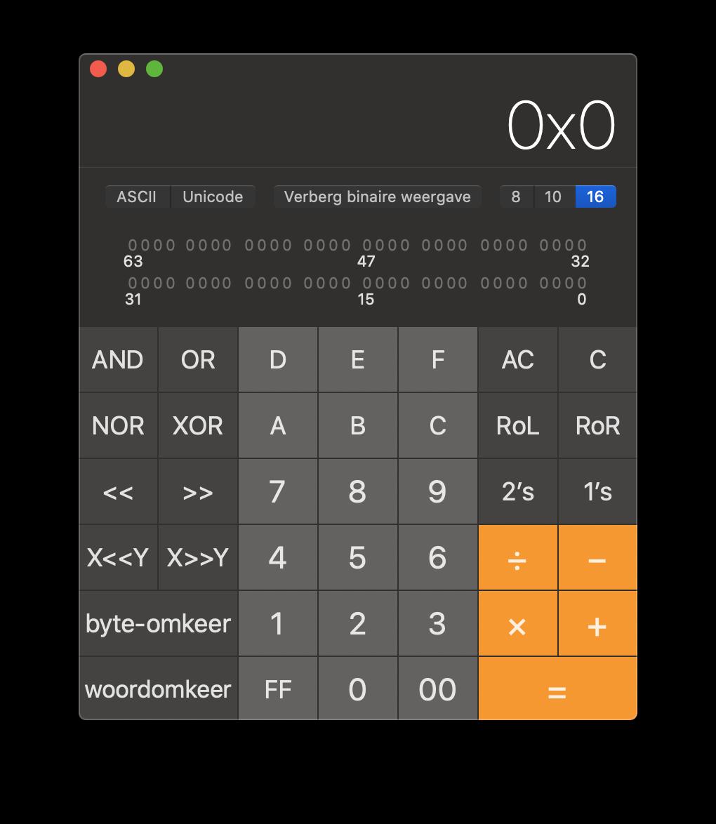 Mac rekenmachine voor programmeurs.
