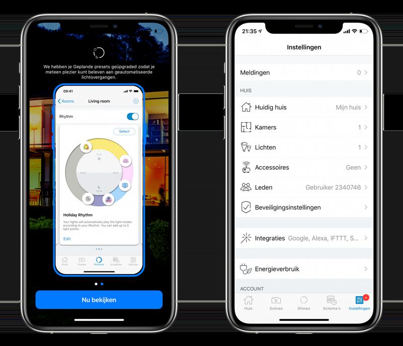 WiZ lampen: ritme en instellingen in de app.