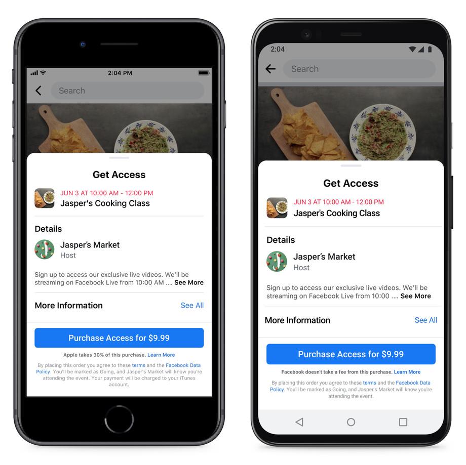 Facebook met melding over dertig procent van in-app aankoop voor Apple.