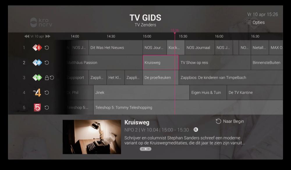 T-Mobile TV Anywhere op Apple TV: tv-gids.