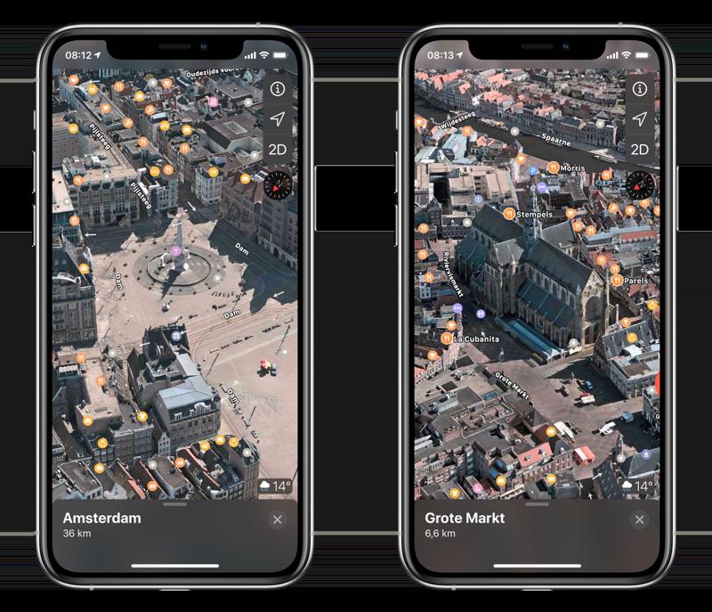 Amsterdam en Haarlem in 3D in Apple Kaarten.