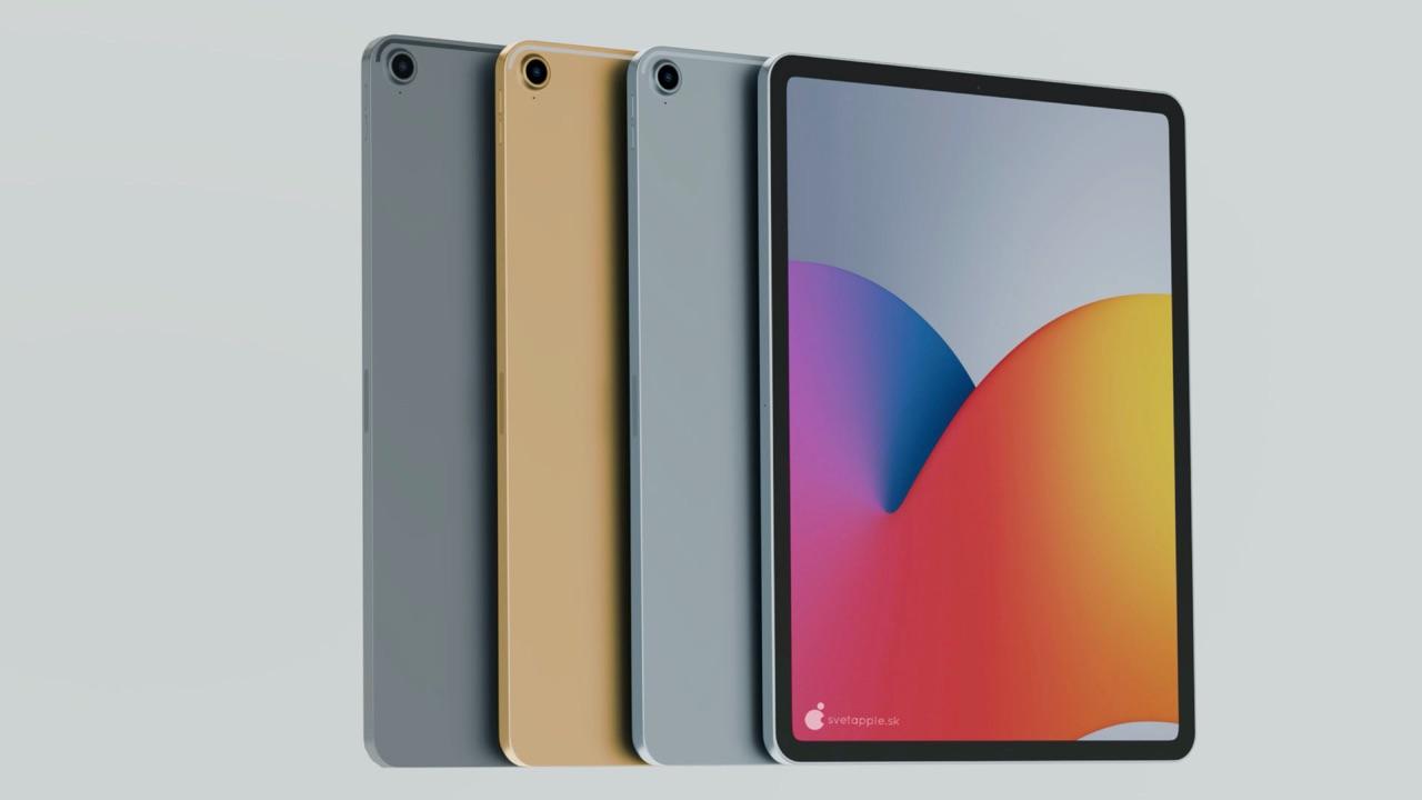 iPad Air 4 concept in meerdere kleuren.