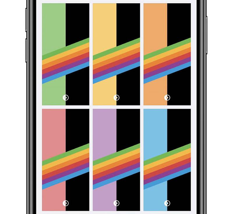 Regenboog wallpaper voor donkere modus