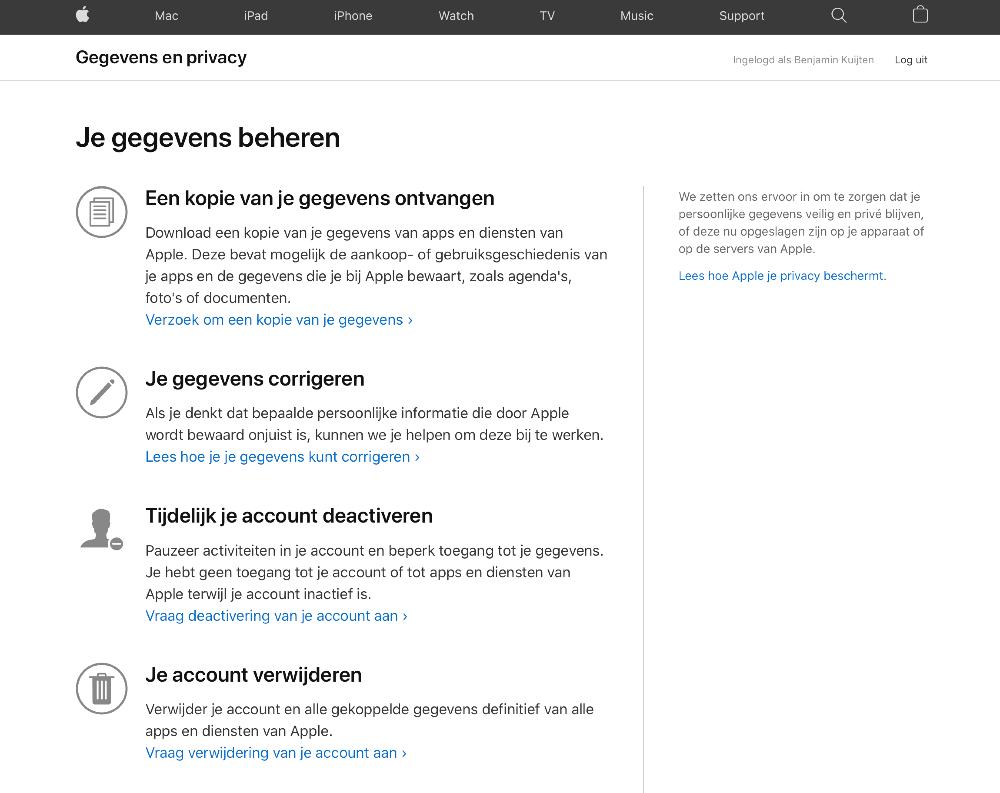 Apple-gegevens en data opvragen via de website.