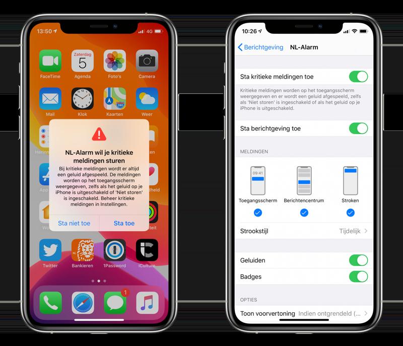 Kritieke meldingen op de iPhone met NL-Alarm.